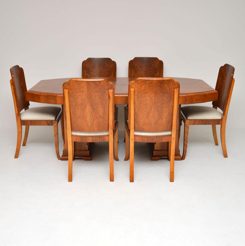 1920s Original Art Deco Walnut Dining Table Chairs