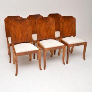 1920's Original Art Deco Walnut Dining Table & Chairs