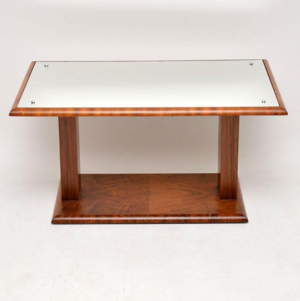 art deco mirrored walnut coffee table