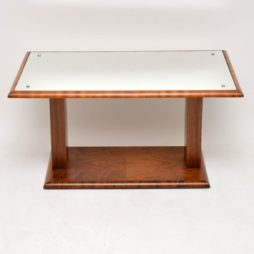 art deco mirrored walnut coffee table