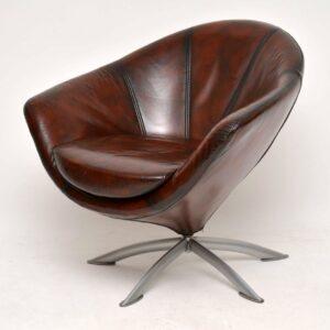 1970's Vintage Leather Swivel Armchair