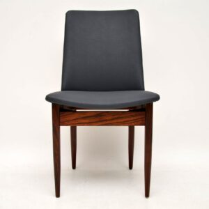 danish retro vintage rosewood leather dining chairs