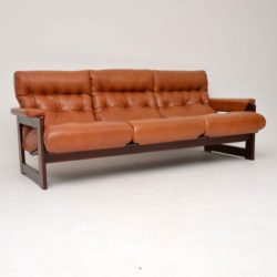 1970's Vintage Danish Rosewood & Leather Sofa