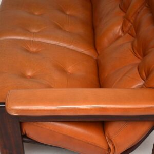danish rosewood and leather vintage sofa