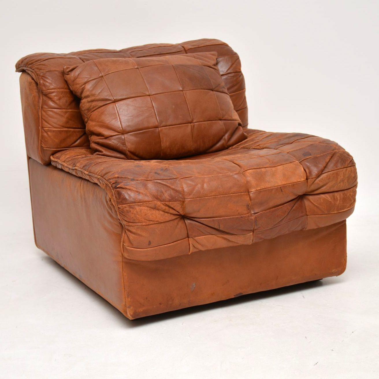 1960's Vintage Leather Modular Chair & Cushion by De Sede