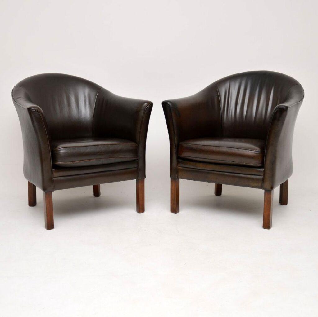 pair of danish leather armchairs mogens hansen