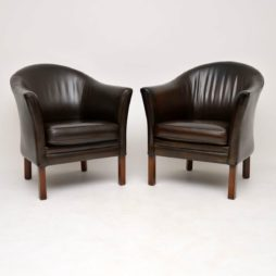 pair of danish leather armchairs mogens hansen
