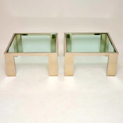 pair of vintage retro chrome side coffee tables