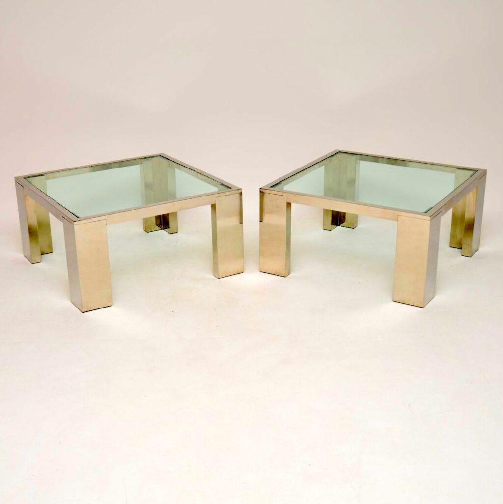 pair of vintage retro chrome side coffee tables