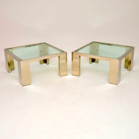 1970's Pair of Chrome & Glass Side / Coffee Tables