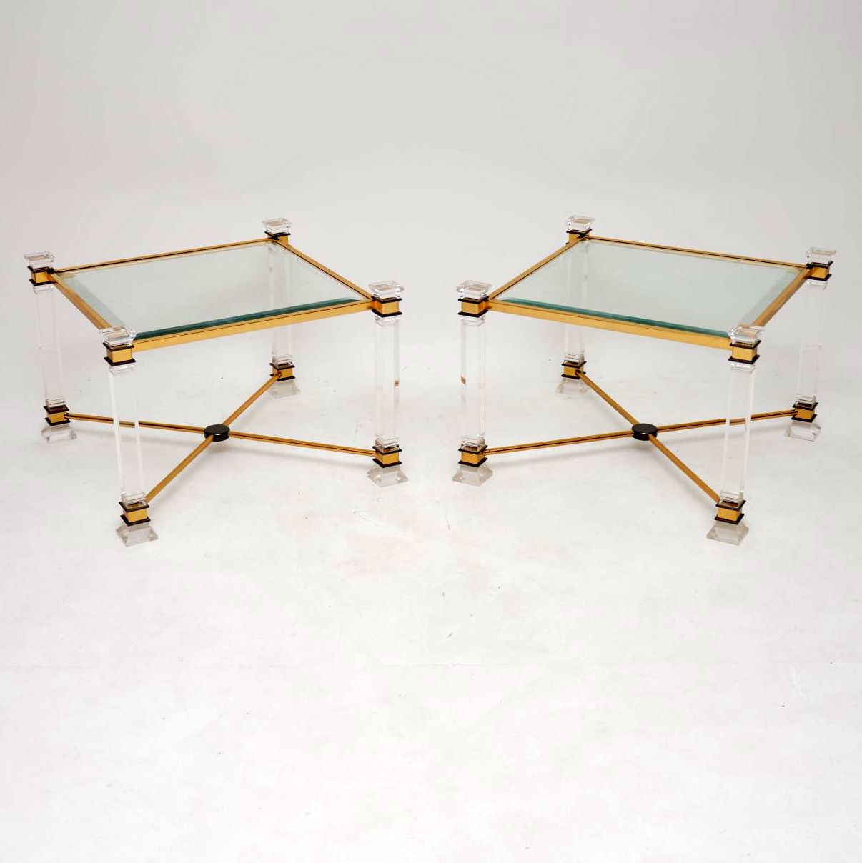 pair of retro vintage brass glass perspex side tables