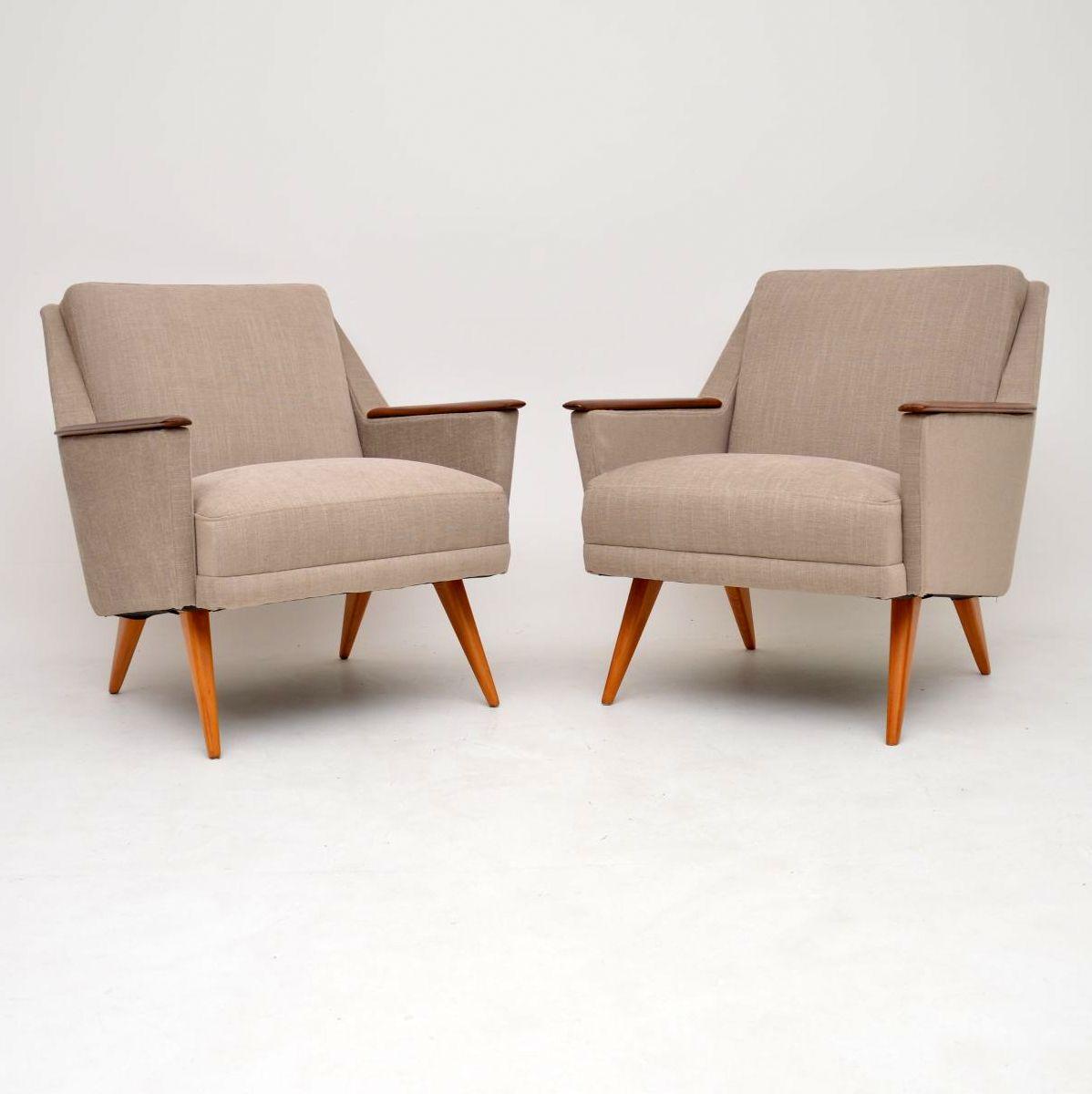 pair of vintage retro danish armchairs