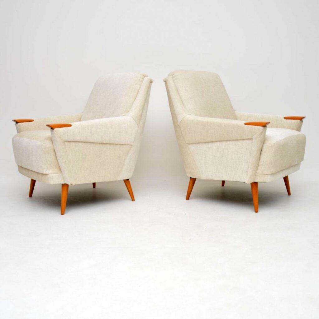 pair of vintage danish retro armchairs