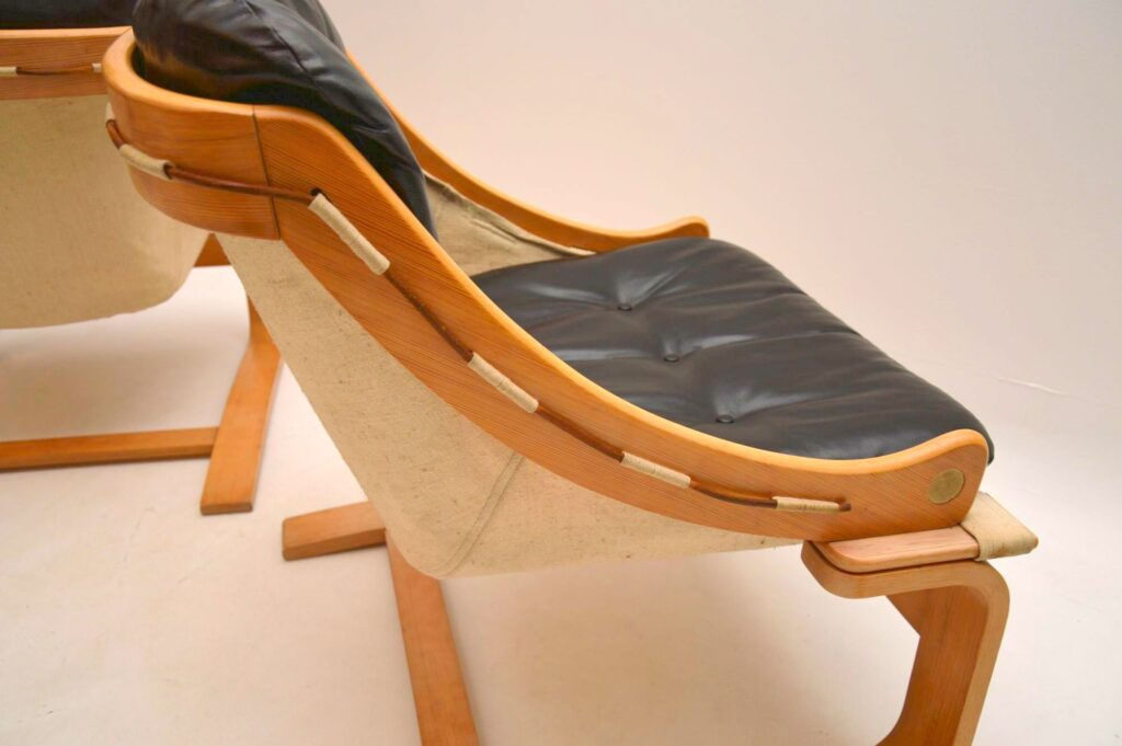 pair of retro vintage danish leather armchairs