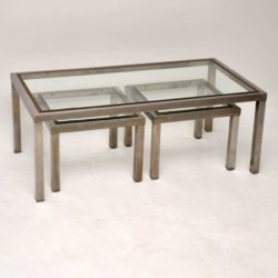 1960's Steel & Brass Nesting Coffee Table / Side Tables