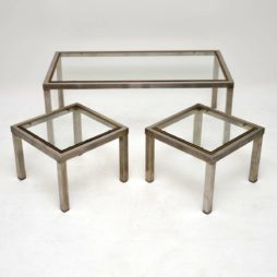vintage retro steel brass nesting coffee table side tables