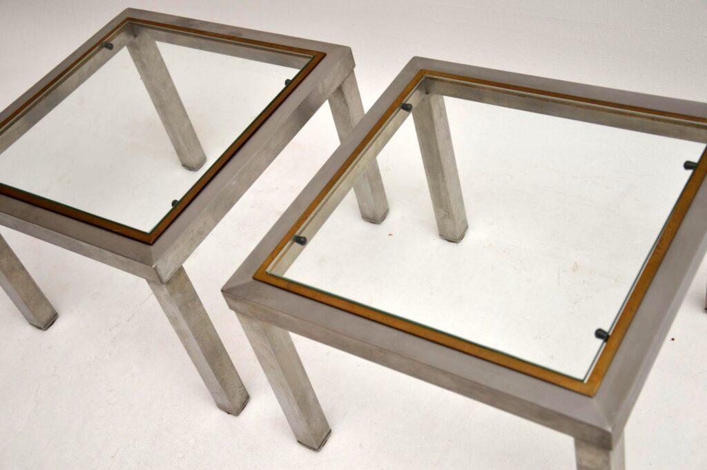 vintage retro steel brass nesting coffee table side tables