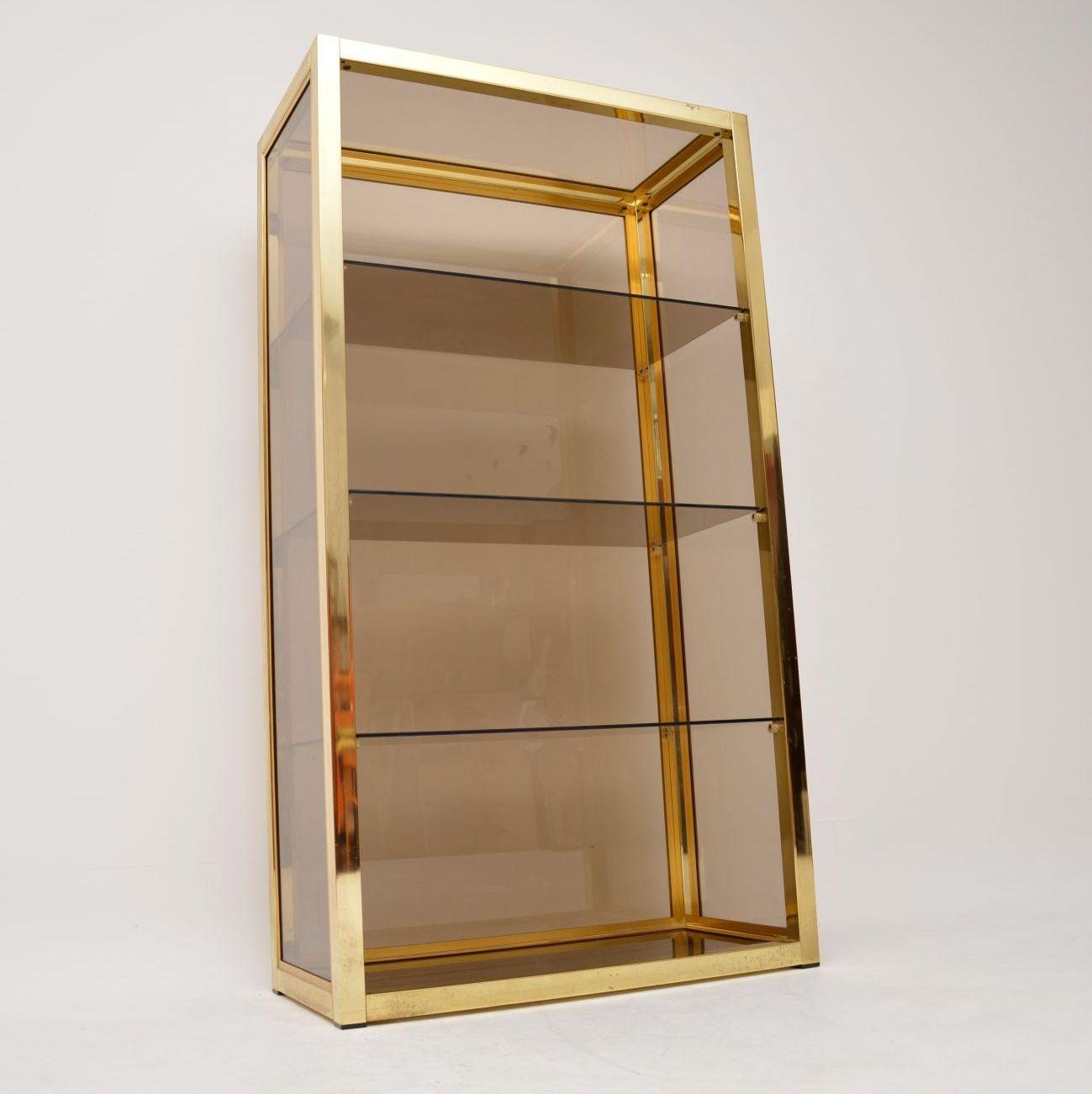 vintage zevi brass bookcase cabinet