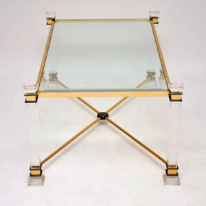 vintage retro lucite perspex glass brass coffee table