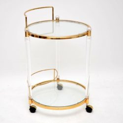 1970's Vintage Glass, Perspex & Brass Drinks Trolley