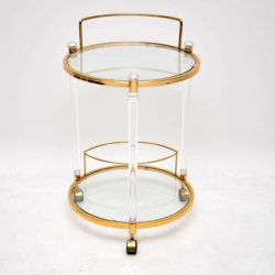 vintage retro perspex glass brass drinks trolley