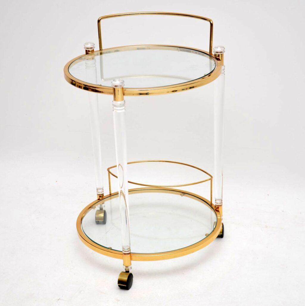 vintage retro perspex glass brass drinks trolley