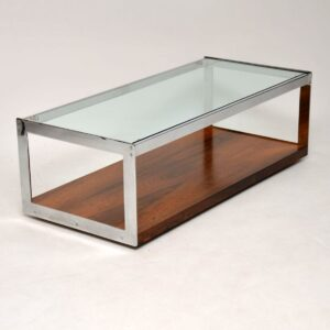 vintage retro merrow associates rosewood and chrome coffee table