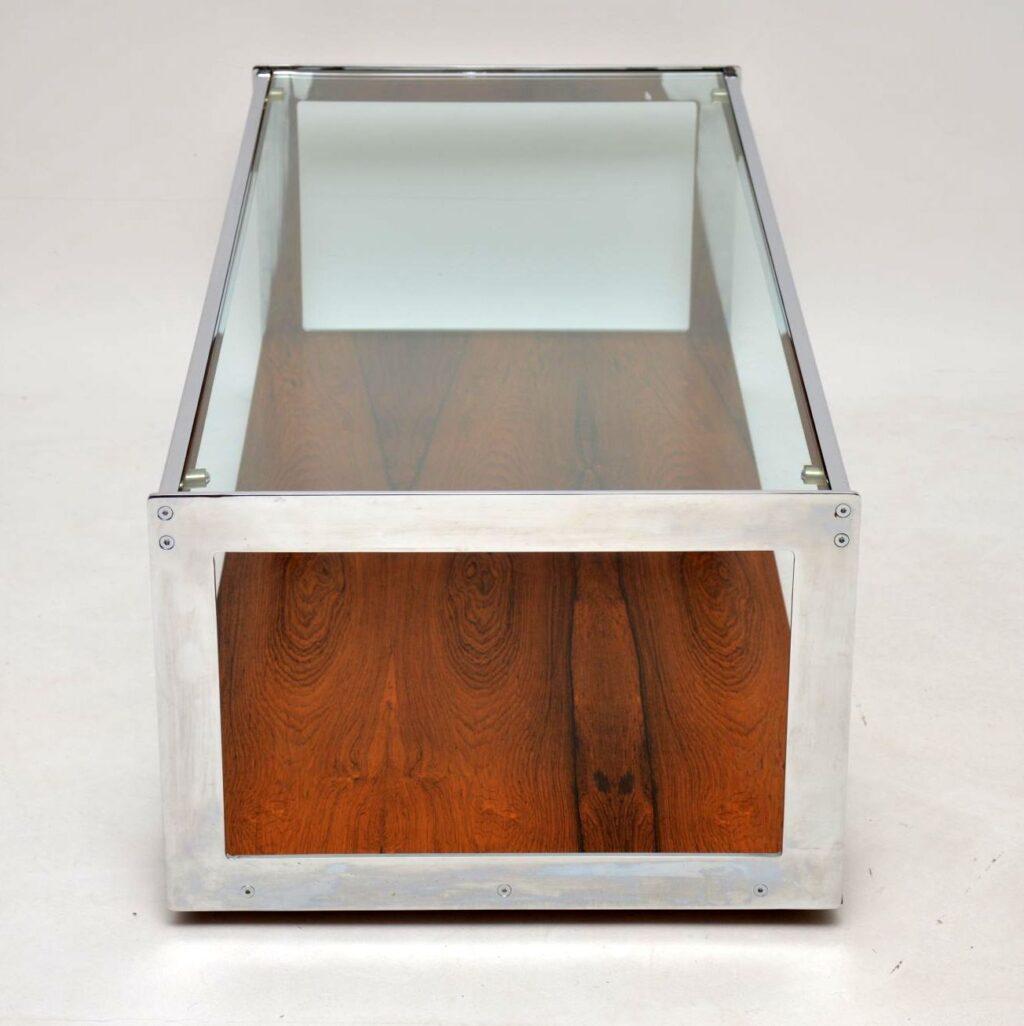 vintage retro merrow associates rosewood and chrome coffee table