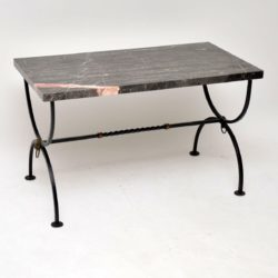 1960's Vintage Iron & Marble Coffee Table