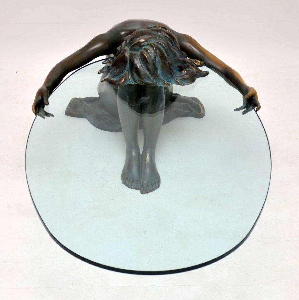 vintage antique bronze coffee table nude lady emil epple auguste moreau
