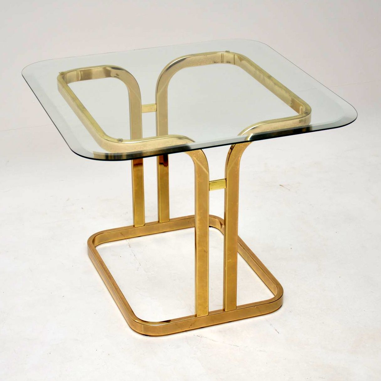 vintage brass and glass coffee side table