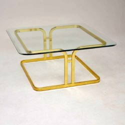1970's Vintage Brass & Glass Coffee Table