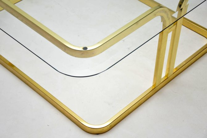 1970s vintage brass and glass coffee table
