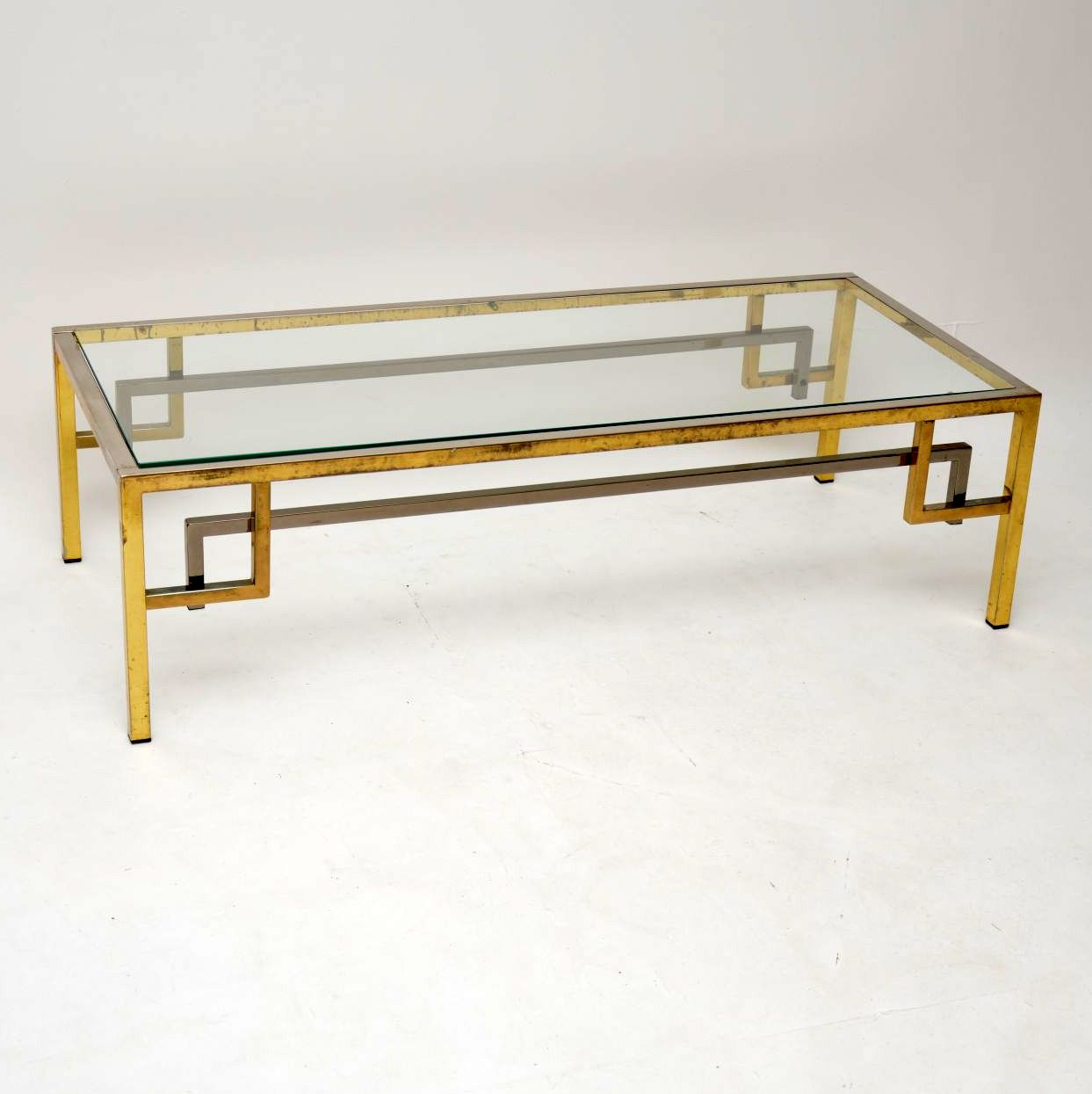 RETRO FRENCH BRASS AND CHROME COFFEE TABLE VINTAGE 1970's