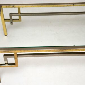 vintage retro french brass and chrome coffee table