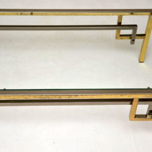 1970's Vintage French Brass & Chrome Coffee Table
