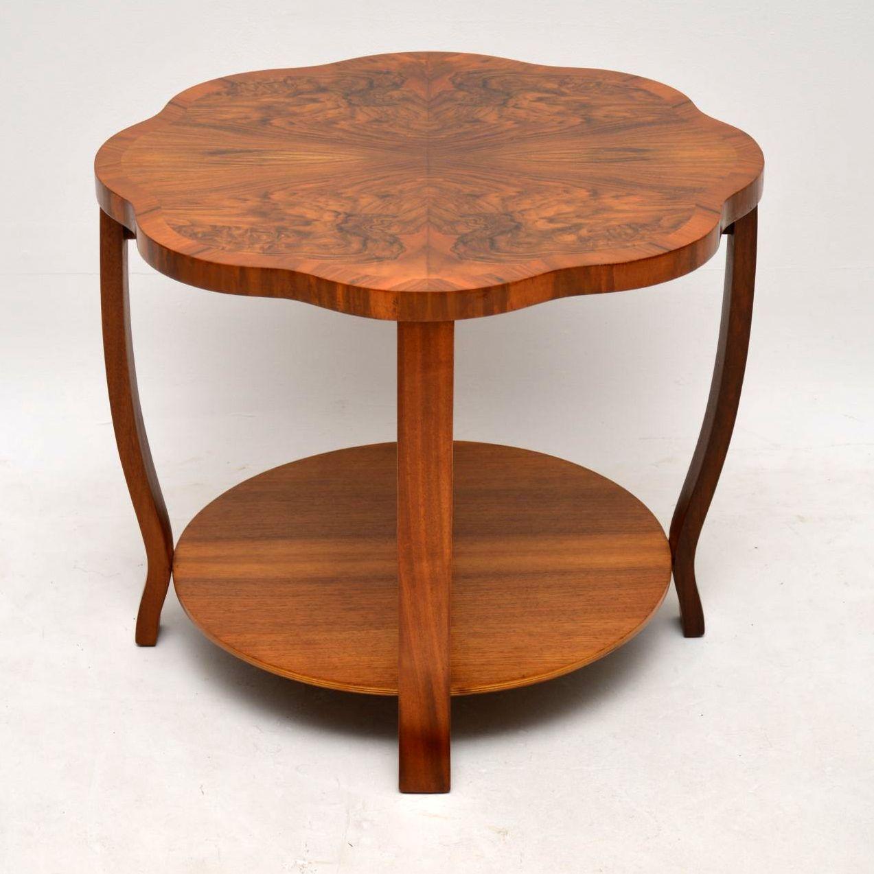 antique art deco burr walnut coffee table