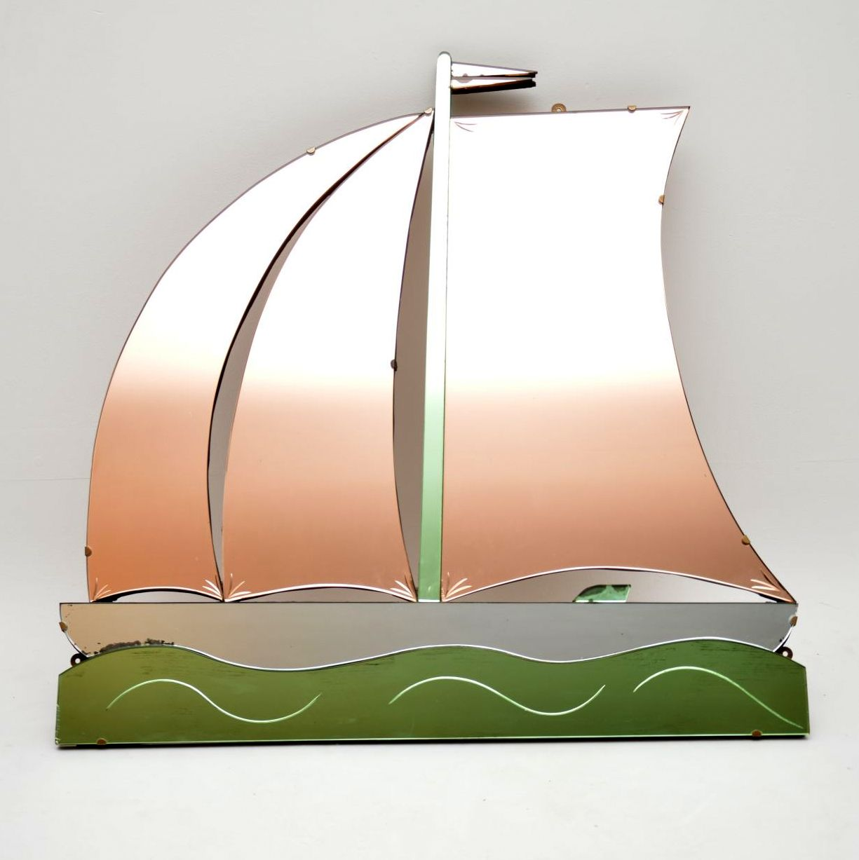 artdeco peach green glass boat mirror