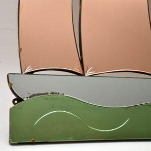 artdeco peach green glass boat mirror