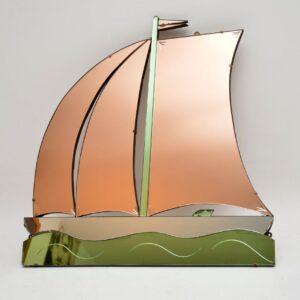 1920's Original Art Deco Peach & Green Glass Mirror