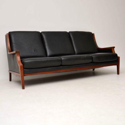 danish retro vintage leather sofa