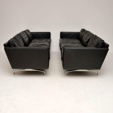 1970's Vintage Pair of Danish Leather & Steel Sofas
