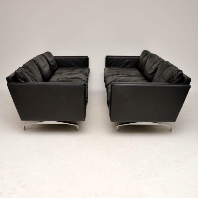 danish retro vintage leather sofa pair of sofas