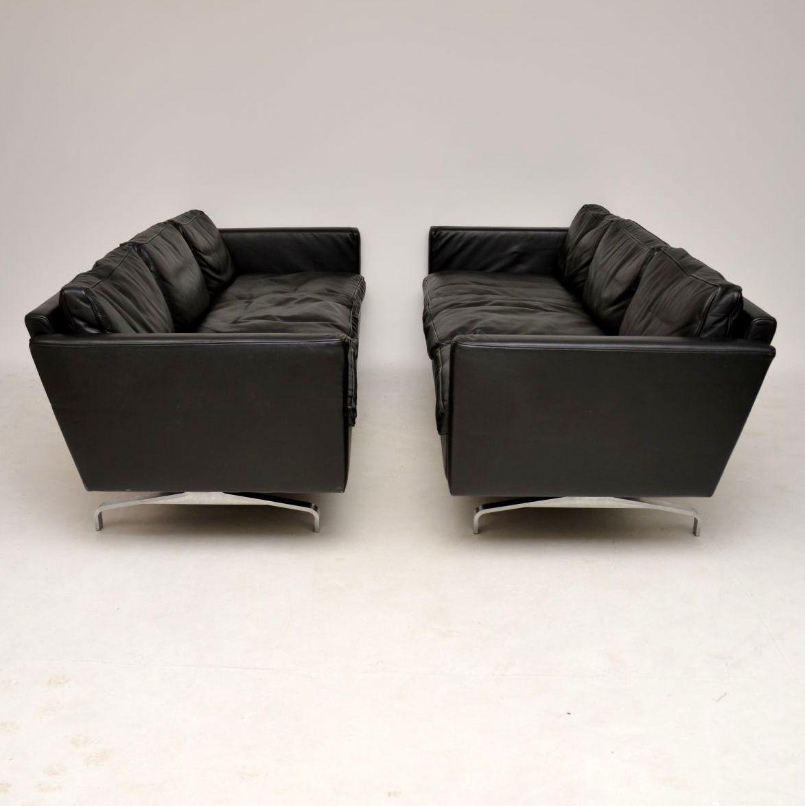 danish retro vintage leather sofa pair of sofas