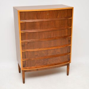 danish vintage retro walnut bow front chest of drawers