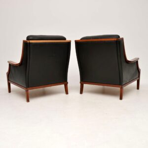 1970's Pair of Danish Vintage Leather Armchairs
