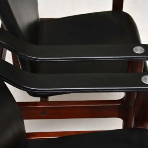 pair of danish rosewood and leather armchairs dyrlund