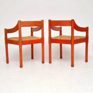pair of vintage retro italian armchairs vico magistretti cassina habitat