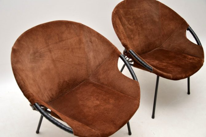 pair retro vintage suede balloon chairs lusch and co