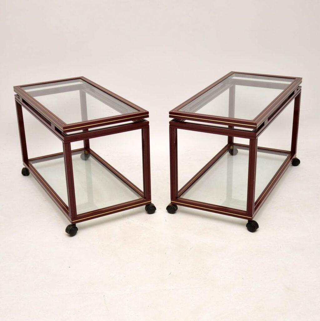 pair of retro vintage french side tables pierre vandel paris